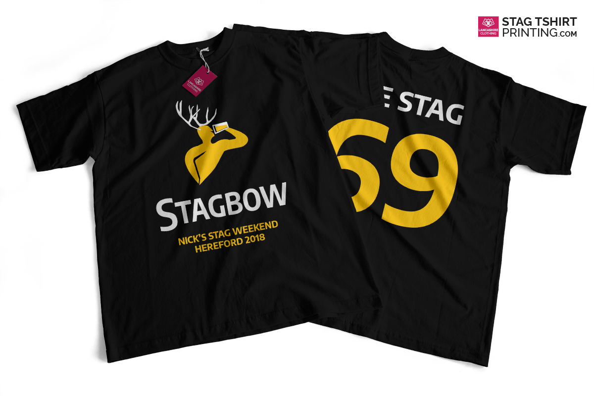 Black, Yellow and White Strongbow Parody Stag T-Shirts Design