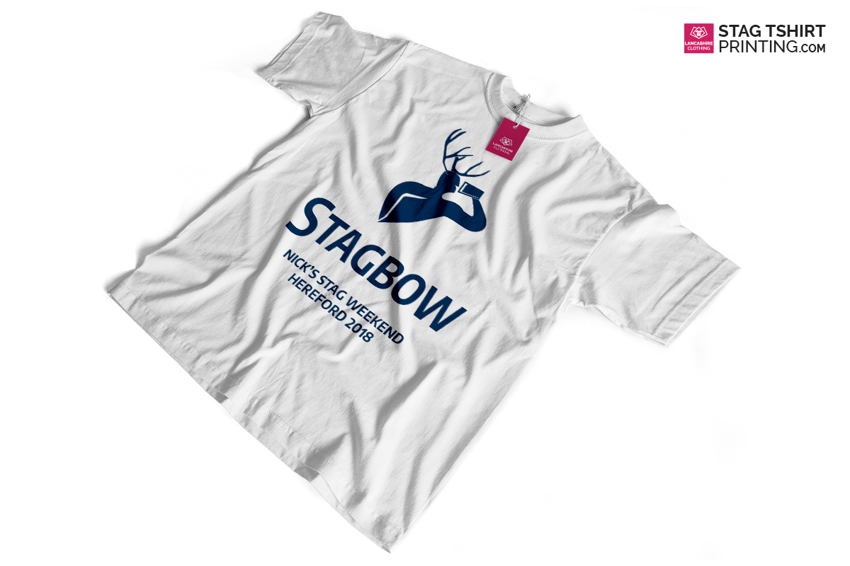 White and Navy Stag T-Shirt Design